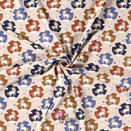 Jersey Coton Imprimé Motif LICORNE Fond Beige Clair