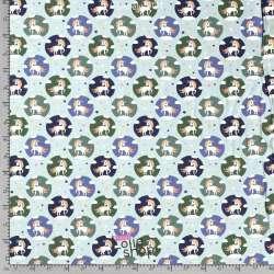 Jersey Coton Imprimé Motif LICORNE Fond Vert D'eau