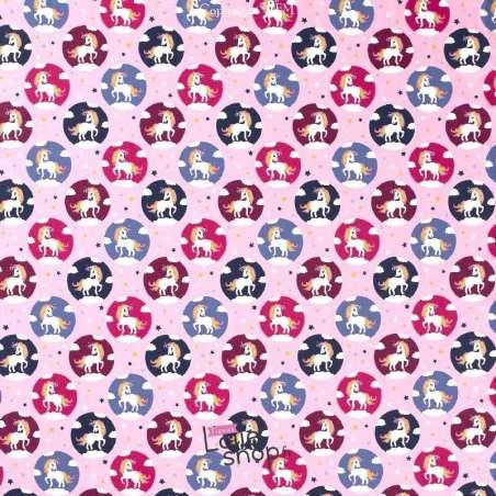 Jersey Coton Imprimé Motif LICORNE Fond Rose