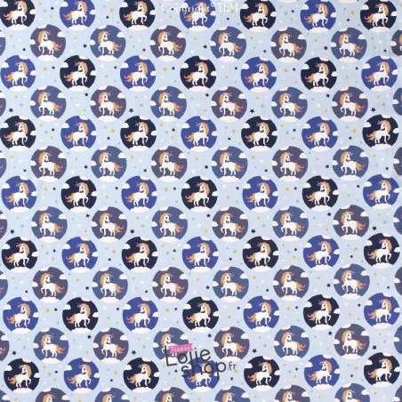 Jersey Coton Imprimé Motif LICORNE Fond Bleu Ciel