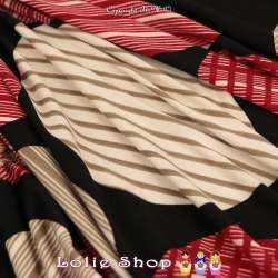Jersey Polyester Gratté Imprimé Modèle JOY Couleur Ton Rouge et Beige Sur fond Noir