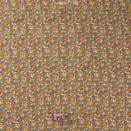 Double Gaze de Coton Imprimé Modèle FANNY Ton Moutarde