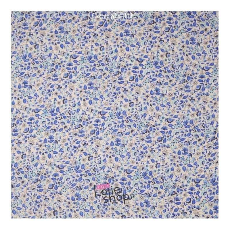 Tissu Lin Imprimé Fleuri Ton Bleu