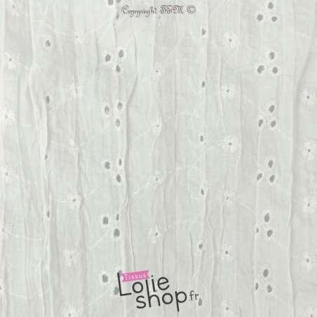 Tissu Voile de coton Froissé Broderie Anglaise Blanc vendu au mètre