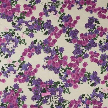 Tissu Toile Satin PAS CHER Épais Imprimé Fleur Ton Violet