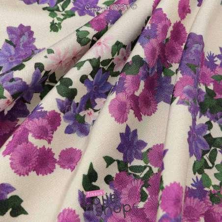 Tissu Toile Satin Épais Imprimé Fleur Ton Violet