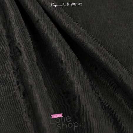 Tissu Plissé fine rayures Couleur Noir