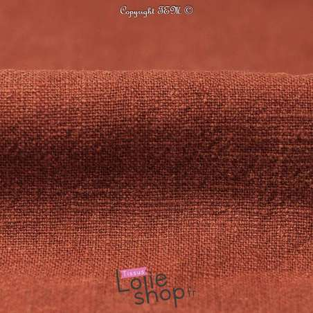 "Tissu pas cher Lin Lavé ""Stonewashed"" , 100% Lin Terracotta"