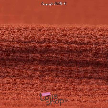 Tissu Double Gaze de Coton Uni Couleur Terracotta