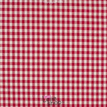 Popeline Coton Imprimé Vichy Carreau 5 mm Couleur Rouge - 100% Coton  Tissé Teint