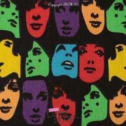 Toile de Coton Natté Imprimé Visage inspiration Andy Warhol