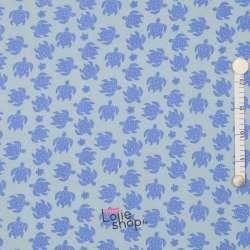 Jersey Coton Imprimé Tortue Bleue Fond Bleu Clair