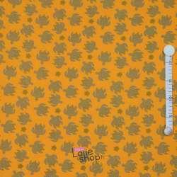 Jersey Coton Imprimé Tortue Gris Fond Jaune
