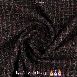Tweed Polyviscose Quadrillé Lurex Noir Ton Noir & Rouge
