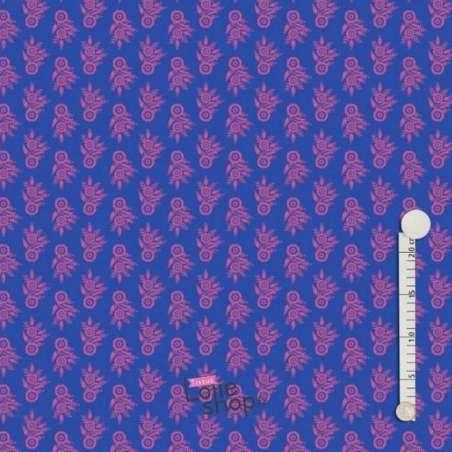 Jersey Coton Imprimé Bouquet Fleurs Fushia Fond Bleu