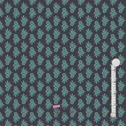 Jersey Coton Imprimé Bouquet Fleurs Vert Fond Noir