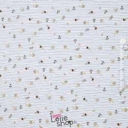 Jersey Coton Imprimé Chien Rayure Fine Fond Blanc