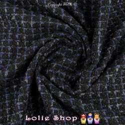 Tweed Polyviscose Quadrillé Lurex Noir Ton Noir & Bleu