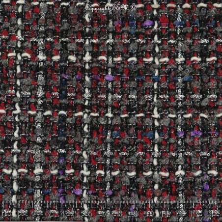 Tweed Polyviscose Quadrillé Lurex Ton Rouge