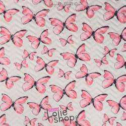Tissu Matelassé Imprimé Motif Papillon Rose