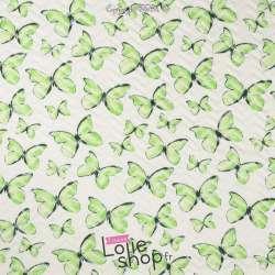 Tissu Matelassé Imprimé Motif Papillon Vert
