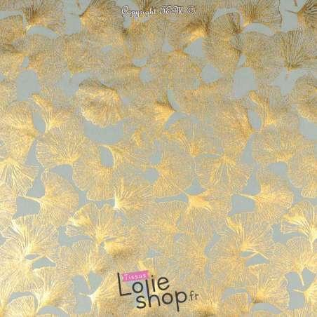 Jersey Coton Motif Fleur Ginkho Dorée Fond Bleu Clair