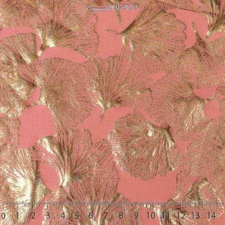 Jersey Coton Motif Fleur Ginkho Dorée Fond Rose