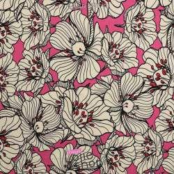 Jersey Coton Imprimé Motif Fleurs Fond Rose Fushia