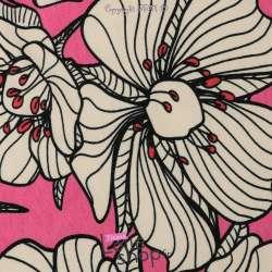 Jersey Coton Motif Fleurs Du Jardin Fond Rose Fushia