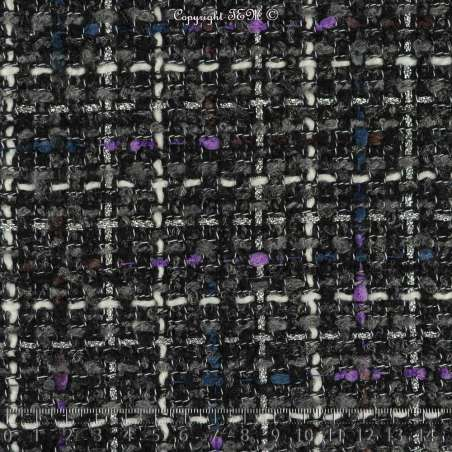 Tweed Polyviscose Quadrillé Lurex Ton Gris