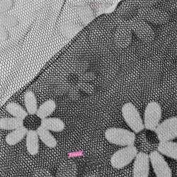 Tulle Noir Floqué de Fleurs Blanches