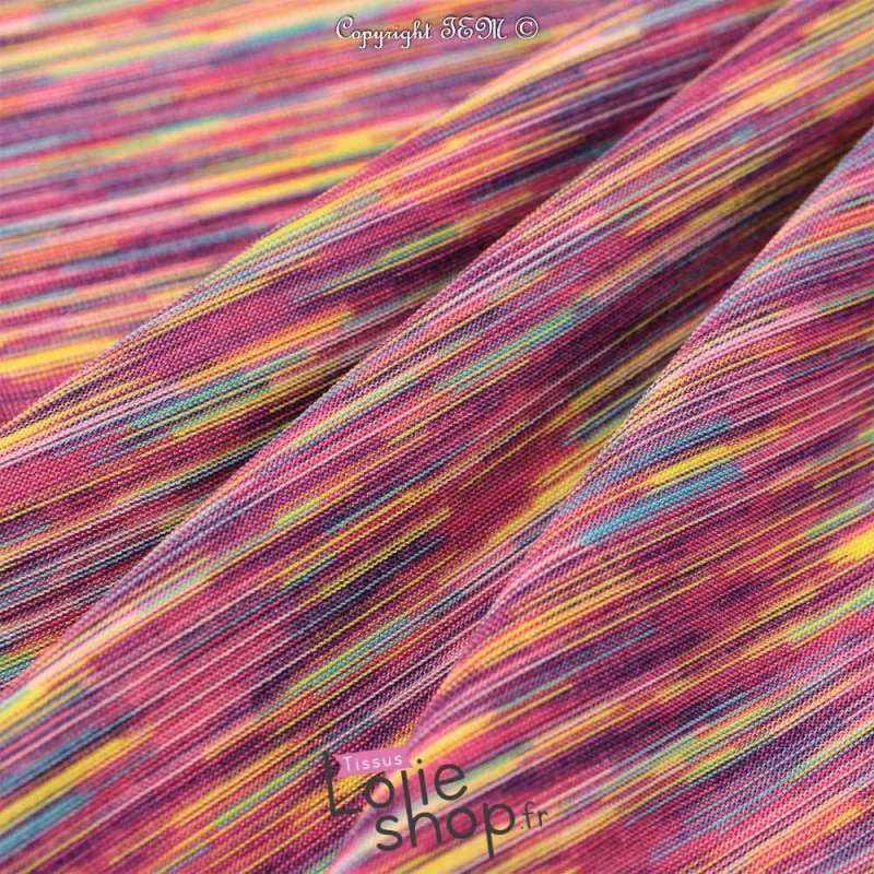 Jersey Polyester et Lycra Sport Violet Rayures