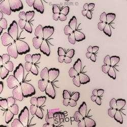 Tulle Brodé Doubles bases Papillons Ton Parme