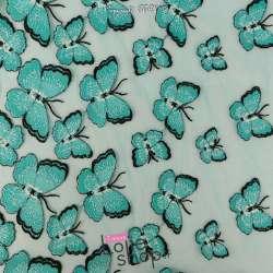 Tulle Brodé Doubles bases Papillons Ton Vert