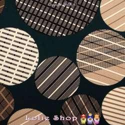 Jersey Polyester Gratté Imprimé Modèle JOY Couleur Ton Beige et Noir Sur fond Vert Canard - Photo 15x15 Cm