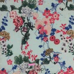 Tissu Viscose Surpiqué Or Fleurs Fond Bleu Clair