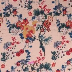 Tissu Viscose Surpiqué Or Fleurs Fond Rose