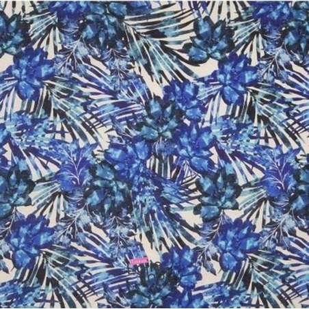 Tissu Lin Imprimé Feuilles Bleus Fond Blanc