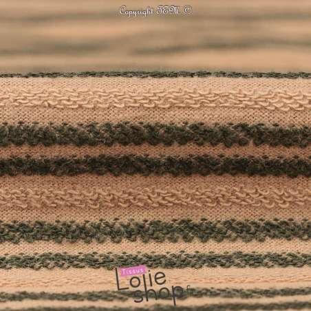 Tissu Molleton Beige Effet Rayure Bouclettes Kaki/ Beige