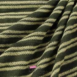 Tissu Molleton Vert Kaki Effet Rayure Bouclettes Vert