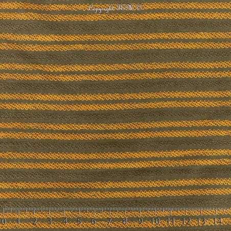 Tissu Molleton Vert Kaki Effet Rayure Bouclettes Jaune/Kaki