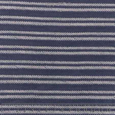 Tissu Molleton Bleu Effet Rayure Bouclettes Blanche