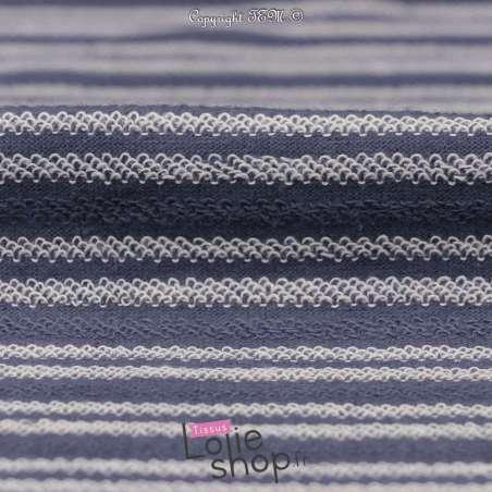 Tissu Molleton Bleu Effet Rayure Bouclette Blanc