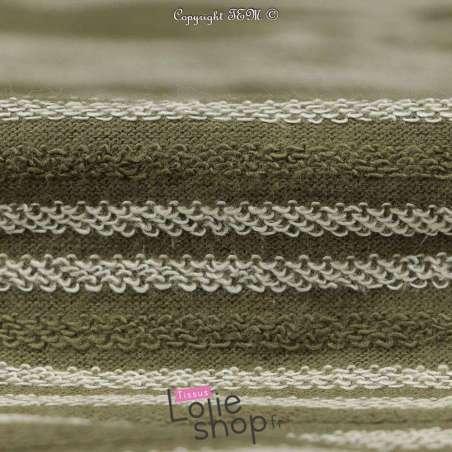 Tissu Molleton Kaki Rayure Bouclettes Blanche