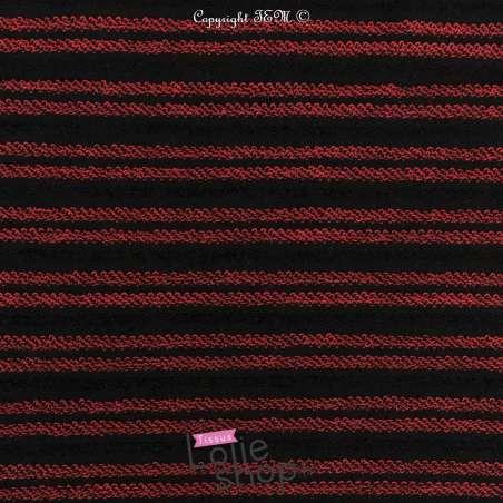 Tissu Molleton Noir Rayure Bouclettes Rouge