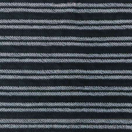 Tissu Molleton Bleu Foncé Rayure Bouclettes Bleu Clair