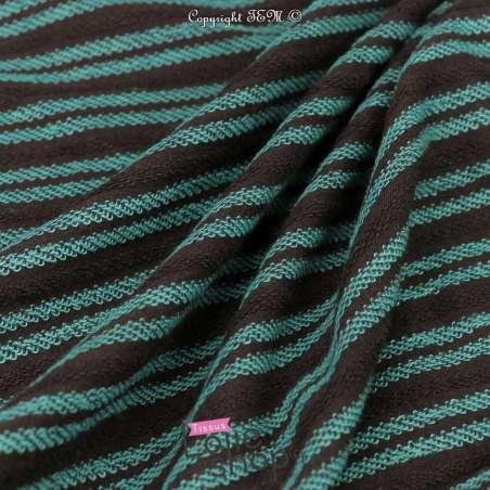 Tissu Molleton Kaki Rayure Bouclettes Turquoise