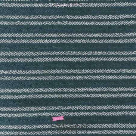 Tissu Molleton Vert Bleu Rayure Bouclettes Blanche