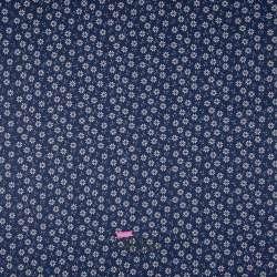 Popeline Coton Imprimé Fleurs Thème Bleu Marine