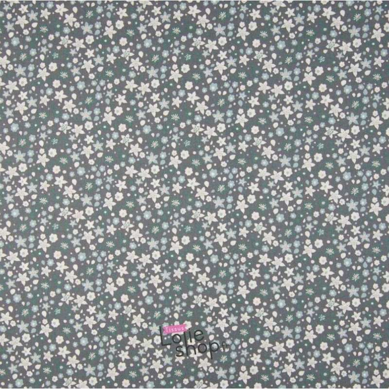 Popeline Coton Imprimé Fleurs Thème Vert